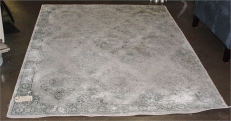 "AREA RUG: GREY/ BLUE PATTERN, 62""W X 87""L"